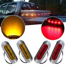 4x Red/Amber Light Clearance Side Marker Truck Trailer w Chrome Cover Bezel 4LED
