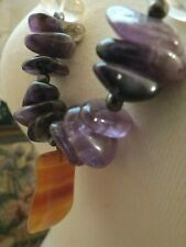 Natural Stone Amethyst Bead Necklace Pendant Purple Lavender Artisan India