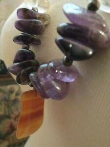 Natural Stone Amethyst Bead Necklace Pendant Purple Lavender Artisan India Cord