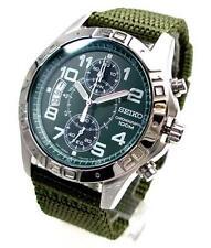 SEIKO Chronograph SNN107 SNN107P1 Men Tough Band Army Green Dial 100m Watch