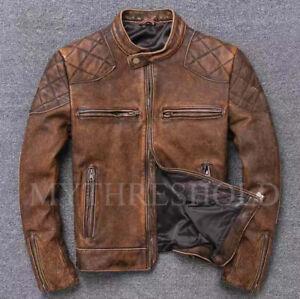 Men's Biker Cafe Racer Vintage Motorcycle Distressed Tan Brown Leather Jacket