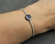 Armband Silber Rocailles Perlen Ying Yang Hämatit Perle Elastisch Zierlich NEU