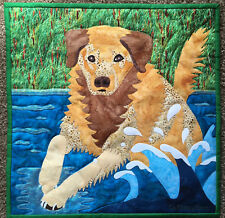 """Golden Retriever Dog quilted wall hanging 18""""x18"""""""