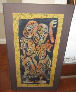 Interesting 1979 original Batik modernist painting, signed Toki