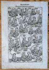 Original Inkunabel-Blatt Schedel Kaiser Heinrich Geschlecht 1493