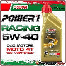1 LT LITRO NUOVO OLIO MOTORE CASTROL POWER 1 RACING 5w40 MOTO 4T 100% SINTETICO