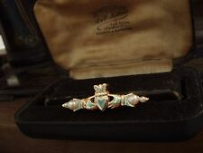 Vintage Gold Heart & Hands Pearl Claddagh Brooch Celtic Gold Plated