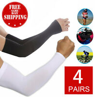 4 Pair Unisex Outdoor Sports Cooling Arm Sleeves Cover UV Sun Protection