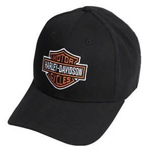 Harley-Davidson Men's Classic B&S Curved Bill Stretch Fit Baseball Cap - Black