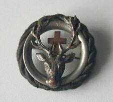 Steirischer Jagdschutzverein Hirsch mit Kreuz Brosche um 1900 antik