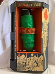 Vintage 1960's Luau Tiki Patio Torch Green Plastic with Steel Tubes- Unused- NOS
