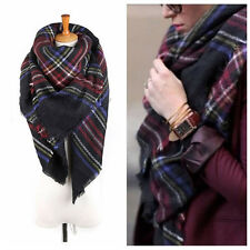 Large Cape Warm Cashmere Scarves Thick Tartan Wrap Stole Wool Pashmina Shawl