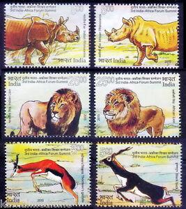 India Arica Summit 2015 MNH 6v, Wild Animals, Rhino, Lion, Black Buck, Deer