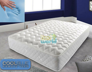 Luxury Coolblue Quilted Memory Foam Matress - 4ft6 DOUBLE 5ft King Mattress 3ft