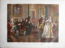 1880 VICTORIAN COLOURED PRINT ~ DR JOHNSON IN THE ANTE-ROOM OF LORD CHESTERFIELD
