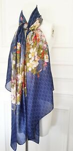 Ladies Blue Pastel Pink Luxury Arty Floral Print  Silky Neck Shawl Chic Scarf