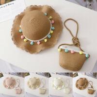 Summer Toddler Baby Kids Girls Breathable Sun Tassel Balls Straw Hat + Bag Set