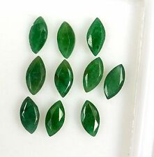 Natural Emerald Marquise Cut 7x3.50 mm Lot 10 Pcs 3.79 Cts Deep Green Gemstones