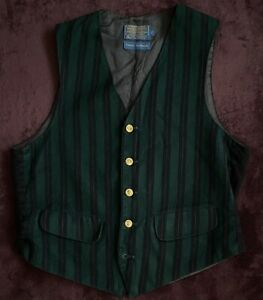 Pendleton Virgin Wool Button Up Vest Country Traditionals Green Vintage Size 40