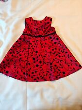 Child'S Party Dress~ Red and Black~Dressy~ Button and Tie Back ~Size 24 months
