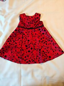 CHILD'S PARTY DRESS~ Red and Black~Dressy~ Button and Tie Back ~Size 24 months *