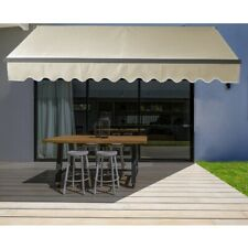 ALEKO Black Frame Retractable Home Patio Canopy Awning 13 x 10 ft Ivory Color