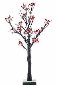 Small Table Top Snowy Berry Pre- Lit LED Tree , 60cm Battery Operated Christmas