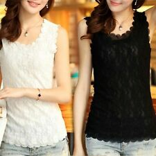 Women Lady Lace Collar Tank Top Vest Sleeve​less T-Shirt Sexy Blouse Free size