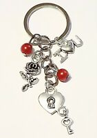 I LOVE YOU Rose Key To My Heart Bag Charm Keyring Valentines Gift Pouch