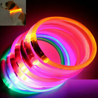 Rechargeable USB Waterproof LED Flashing Light Band Safety Pet Dog Collar GL746