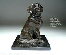 Bronze Figur FRITZ DILLER Hund Bernhardiner ~1935 Art Déco Skulptur Plastik