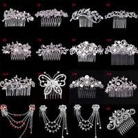 Flower Rhinestone Crystal Comb Bridal Hair Pin Clip Wedding Jewelry Diamante Hot