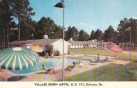 Postcard Village Green Motel Sylvania GA