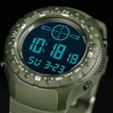INFANTRY Mens Digital Wrist Watch Chronograph Date Alarm Green Rubber Sport Army