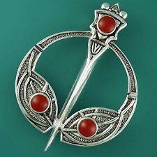 Striking Silver Plated Celtic TARA Brooch Scarf Kilt Dancing Pin Red Agate