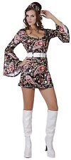 Ladies Sexy Disco Dress 1970s 70s Hen Do Fancy Dress Costume Outfit 10-12-14