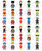 30 x Marvel Superhero Cupcake Toppers Edible Wafer Paper Fairy Cake Toppers