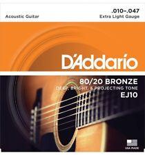 """D'addario Ej10 Set Corde Chitarra Acustica Bronzo (.010""""-.047"""")"""