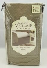 Diamond Matelasse King Bedskirt Taupe 15 Inch Drop