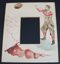 Harvard Football Player Original late 1800's Painting~Rah Rah Rah Harvard~Rare!