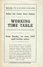 BELFAST & COUNTY DOWN RAILWAY, Working Timetable from Sunday, 1st June 1947