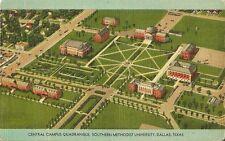 Postcard TX Dallas Central Campus Quadrangle Southern Methodist University 1948