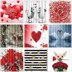 Valentine's Day Fabric Shower Curtain Bathroom Waterproof flower heart animal