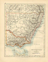 1897 VICTORIAN MAP ~ NEW SOUTH WALES & VICTORIA ~ AUSTRALIA