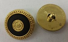 """Gold Plastic Buttons w/Black and Gold Inlay: Set of 10, 3/4"""""""