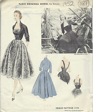 1952 Vintage VOGUE Sewing Pattern B34 DRESS & JACKET (1187) By 'Desses'