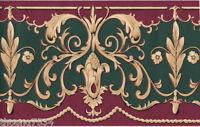 Victorian Burgundy Green Beige Golden Scroll Leaf Floral Swag Wall paper Border