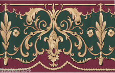 Victorian Burgundy Green Beige Golden Scroll Leaf Floral Swag Wall paper Border