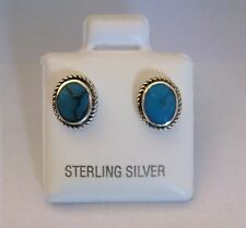 Sterling Silver Oval Turquoise Stud Earrings
