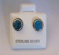 Argento Sterling, ovale turchese orecchini a lobo